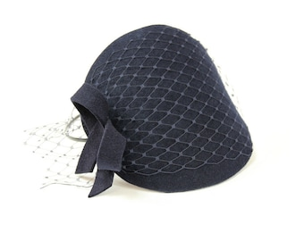 Navy Blue Fascinator with Veil and Simple Bow