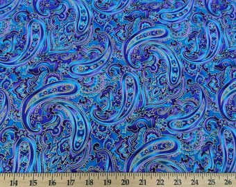Paisley Fabric Blue Purple Metallic Gold Paisley 100% Cotton Fabric BTY Yard or HY w4/25
