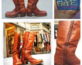Fabulous Men's 1970's Black Label Frye Boots Size 11 - Sale!