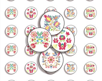 Instant Download - Digital Collage Sheet -  Traditional Folk Art - Embroidery - JPG&PNG format - 1 inch (25 mm) circles