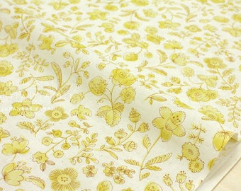 Japanese Fabric  - natural flowers - yellow, cream - 50cm