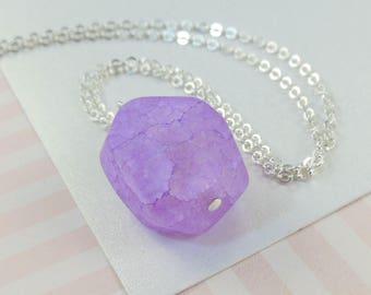 Purple Quartz Chunk Necklace   --  Jones  --