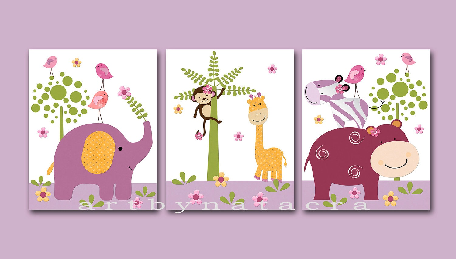 Kids wall art baby girl room decor baby girl nursery art set for Room decor etsy