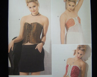 Corset sewing pattern for women, with 3 styles, sizes 14, 16, 18, 20.