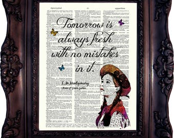 Anne of Green Gables Quote Best Friend Gift Anne Shirley Quote Tomorrow is always fresh Book lovers Gift Birthday Gift Best Friend C:751