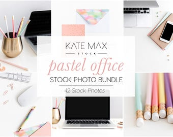 Pastel Office Stock Photo Bundle / Styled Stock Photos / 42 KateMaxStock Branding Images for Your Business
