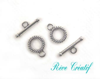 Toggle clasps, clasps T, 13mm x 10mm, hole 2mm, silver, 10 pieces