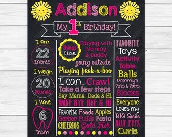 Sunshine Chalkboard - Chalk Board Poster - Custom Color  - Birthday Printable Photography Prop Poster Printable Digital File