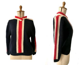 1970s ski wool Sweater handknit navy red white/ vintage sweater/ 70s ski sweater