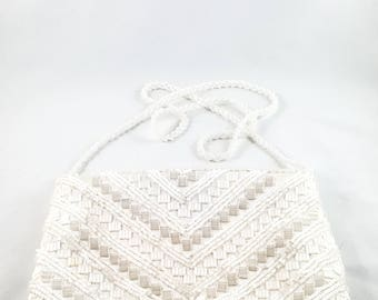 Magnificent Hand Beaded White Wedding Bag with Beaded Strap