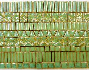 180+ Mosaic Tile Pieces Handmade Ceramic Crafting Tiles Stoneware Medium Green Tones Glazed Craft Tiles Assortment #1