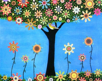Summer Tree Collage Painting Art Print Block