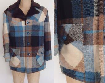 1970's Blue & Brown Plaid Mens Jacket Size Medium by Maeberry Vintage