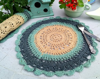 Free standart shipping/Crochet jute placemat set-pale turquoise,petrol green and beige colour round crochet table set-2 items-1 set