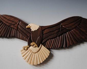 Eagle Intarsia Wallhaning/ Wood Intarsia /Sculpture Mosiac Wallhanging Wildlife