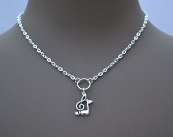 """TREBLE CLEF And QUAVER Note O Ring Charm Necklace, Silver Plated Cable Chain, Handmade In Sizes 16"""" 18"""" 20"""""""