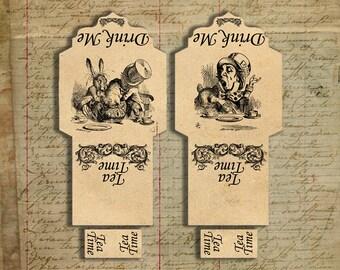 Alice In Wonderland tea bag holder envelope digital printable Mad Hatter scrapbook ephemera instant download grunge collage sheet