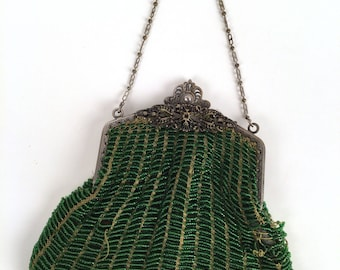 Vintage 20s Green Beaded Flapper Purse, Two Tone Green Glass Beads, Metal Filigree Frame, Floral Lining, Distressed Design Inspiration