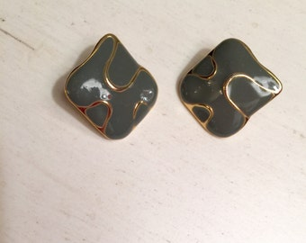 Vintage Olive Green Enamel Pierced Earrings