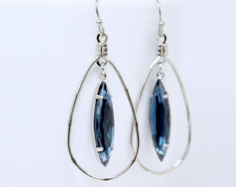 Antique Silver Hoop Earrings, Montana Sapphire Earrings, Blue Swarovski Crystal Earrings, Teardrop Earrings, Navette Earrings, Smoky Blue