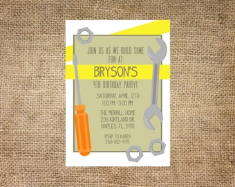 Tool themed birthday invitation, printable