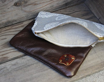 Leather 'Dahlia' Fold Over Clutch / Leather Cosmetic Bag / Folded Zipper Pouch