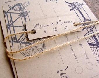 Sample Wedding Invitation, Eco Friendly, Tandem Bike Wedding Invitation, Tandem Bicycle Wedding Invitation, Rustic Wedding Invitation