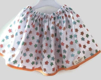 Girl's cotton skirt with flowers, orange and white skirt, toddler skirt