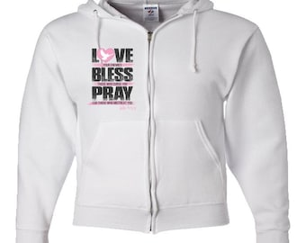 Adult Zipper Hoodie - Love Bless Pray