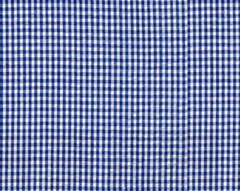 Royal Blue Check Seersucker Fabric, Robert Kaufman, , Blue Check