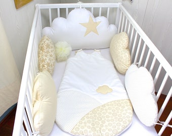 Cot bumpers 5 cloud pillows, beige and white color