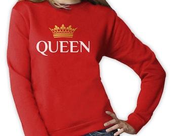 QUEEN Crown - Matching Couples Valentines Gift Idea Women Sweatshirt