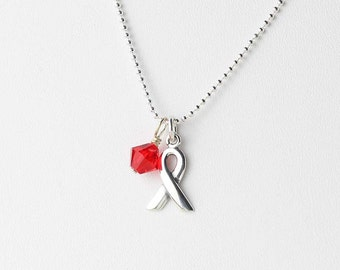 Red Awareness Necklace - Heart Disease, AIDS, HIV Awareness - Sterling Silver Ribbon - Red Crystal Charm Necklace - Swarovski Crystal