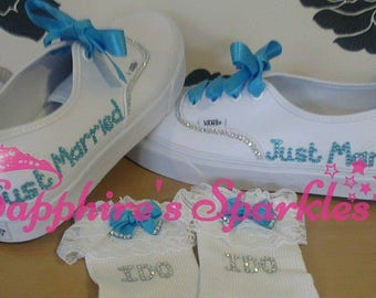 Just Married Vans Bride Vans Bling Vans White Vans Wedding Vans Wedding Shoes Bride Shoes Prom Shoes Prom Vans Turquoise Wedding Pumps