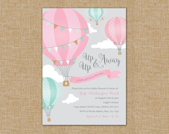 Twin Hot Air Balloon Baby Shower Invitation - Up Up and Away!