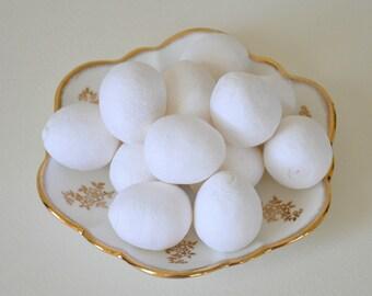 Spun Cotton Eggs, 36mm, 6 Pcs.