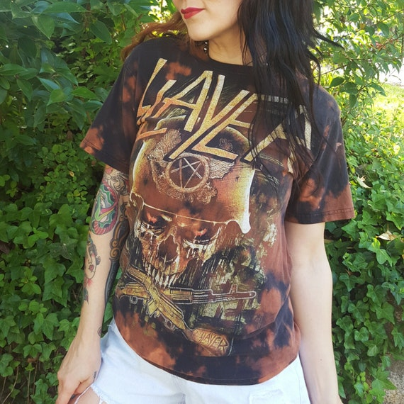 Slayer Band Tee Tie Dye Bleached Shirt - SMALL Classic Heavy Metal Band Tiedye Black Brown Faded Death Speed Metal Band TShirt