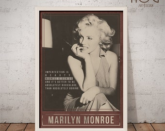 MARILYN MONROE Poster - Quote Retro Poster - Movie Print, Actress Print, Film Poster, Wall Art