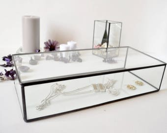 Large Glass Box Glass Display Box Glass Jewelry Box Wedding Display Box Clear Glass Jewelry Box