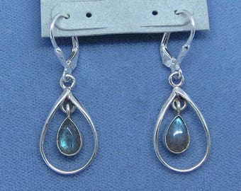 Teal Blue Labradorite Leverback Earrings - Sterling Silver -  Pear Teardrop Raindrop - Simple Classic - Free Shipping