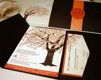 Fall Oak Tree Wedding Invitation, Pocketfold, Rustic Wedding Fall Wedding Invitations, Fall Wedding Invitation,Wedding Invite, Brown, Orange