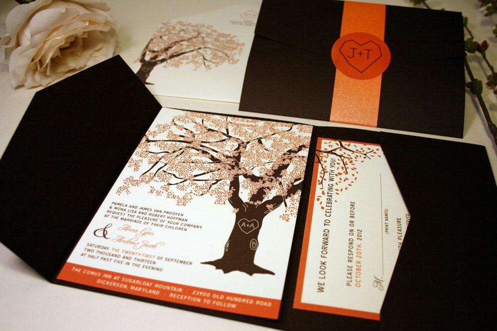 Fall Oak Tree Wedding Invitation Pocketfold Rustic Wedding