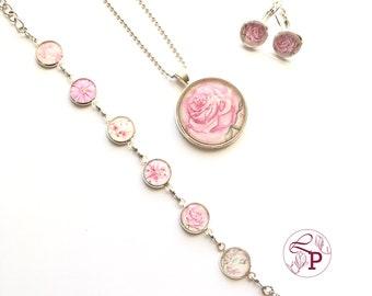 Flower jewelry | Jewelry set | Pendant necklace | Charm bracelet | Leverback earrings | Flower pendant | Flower earrings | Flower Bracelet