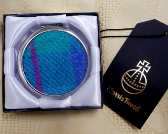 Harris Tweed handbag mirror jade green blue compact womens gift accessories Scottish bridesmaid gift  silver round made in Scotland UK boxed