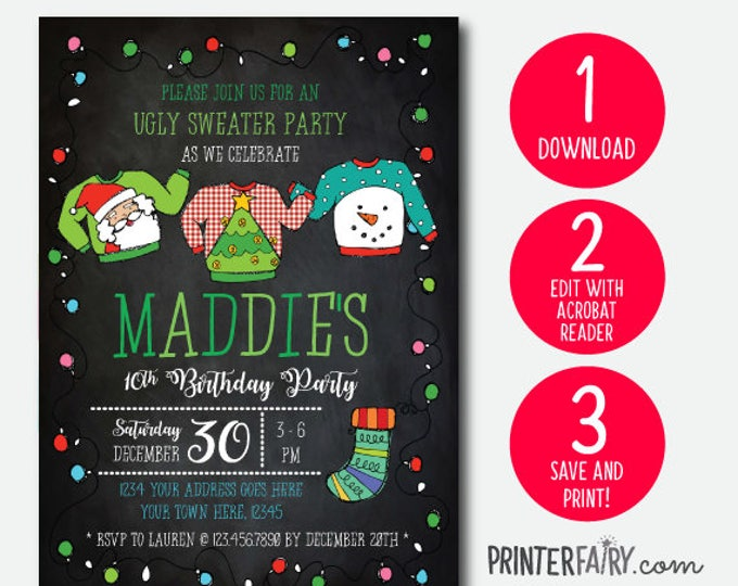 Ugly Sweater, Instant Download Invitation, Holiday Party Invite, Christmas Party, EDITABLE INVITATION
