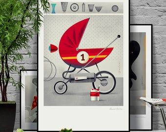 Daddy's pride. The first child's stroller ready to race. Original illustration art poster giclée print signed by Paweł Jońca.