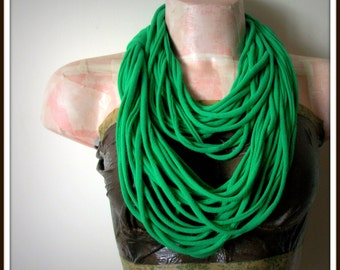 Green Infinity Multi Strand T shirt Jersey Scarf