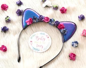 Cat ears headband, cat ears, floral headbands, flowers, headbands
