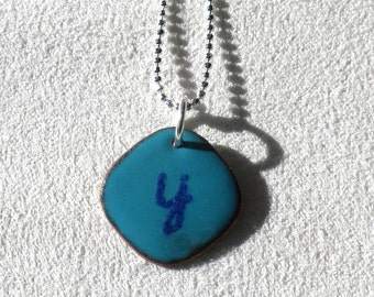 Initial Pendant Turquoise Blue