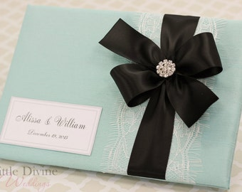Aqua Blue Wedding Guest Book Black Ribbon Custom Made in Your Colors